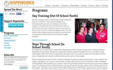 Hopeworks N Camden provides training programs in a trauma-informed environment
