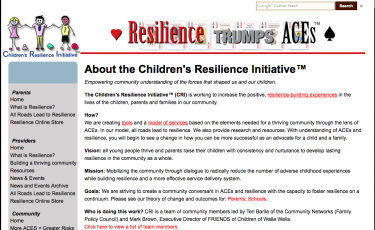 The Children's Resilience Initative of Walla Walla developed tools friendly to parents and providers that help guide ways to build be sensitive to ACEs and build resilience