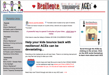 "The website tools offer: ""Help your kids bounce back - ACEs can be devastating"" and ""Parenting is the hardest job you will ever have. There is no training manual and you may feel lost trying to raise your child. Road to Protective Factors Here's hope and help! Be sure to look for the 5 ROAD SIGNS on the resilience road map where you'll find a WEALTH of information for you. On this site all roads lead to resilience! """